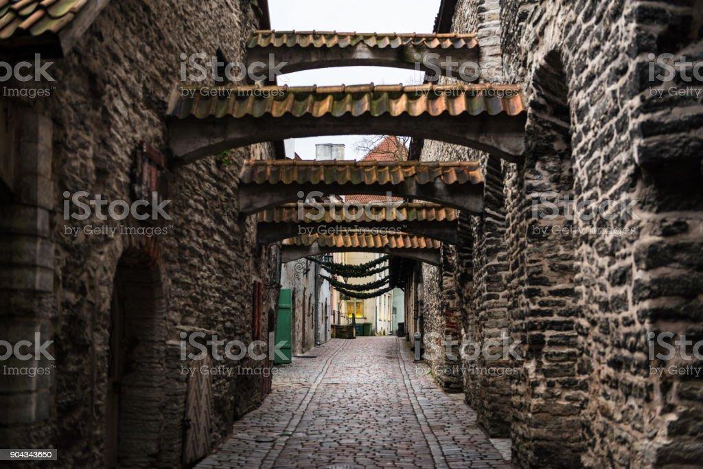 St. Catherine's Passage in Winter in Tallinn stock photo