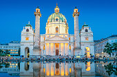 Stock photograph of the landmark baroque style Karlskirche in Vienna Austria at twilight blue hour.
