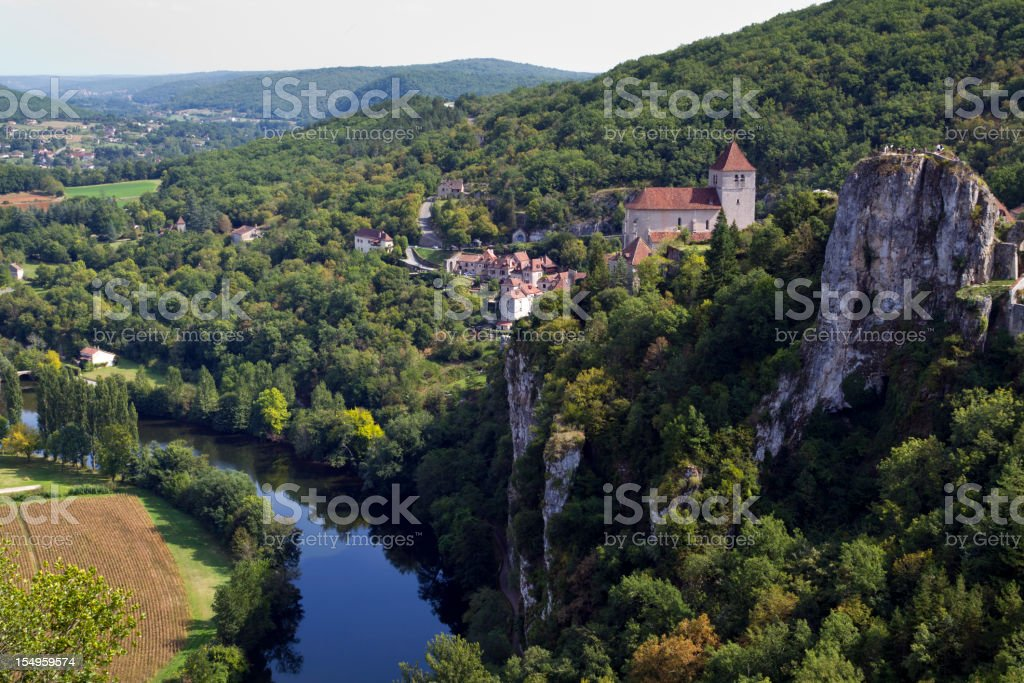 St Cirq Lapopie and the River Lot, France, Europe stock photo