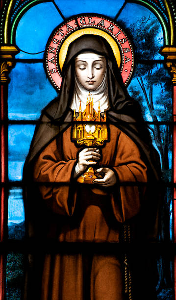 St. Claire Work by artist M. Lorin of Chartres, France. He was commissioned to prepare this painting on glass of St. Claire in 1878 religious saint stock pictures, royalty-free photos & images