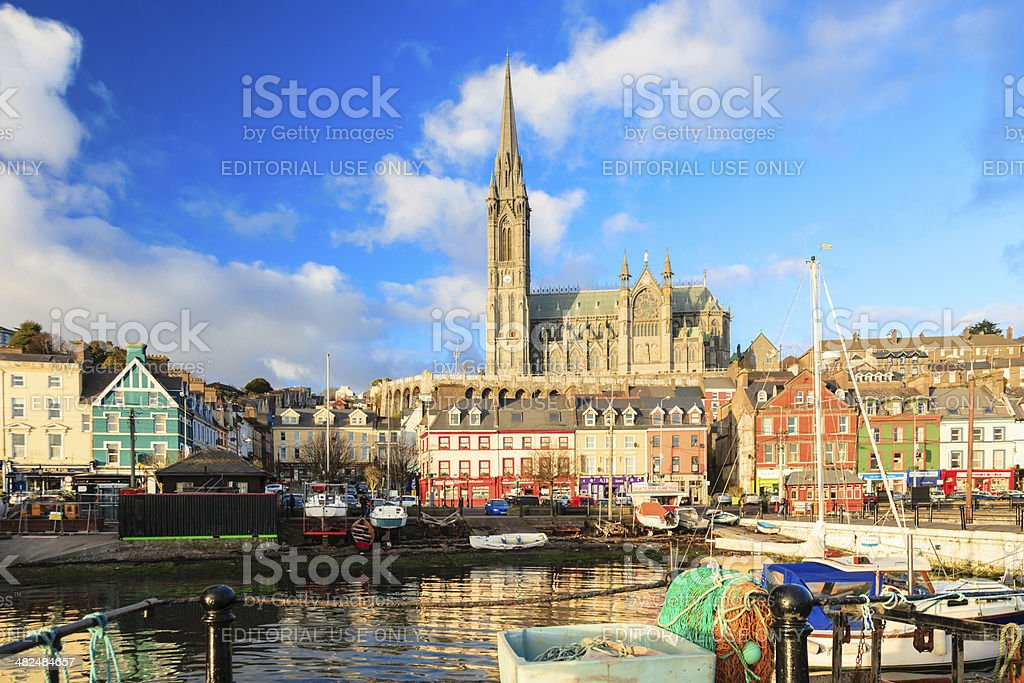 Cobh, Ireland- November 26, 2012: St. Coleman's neo-Gothic Cathedral stock photo