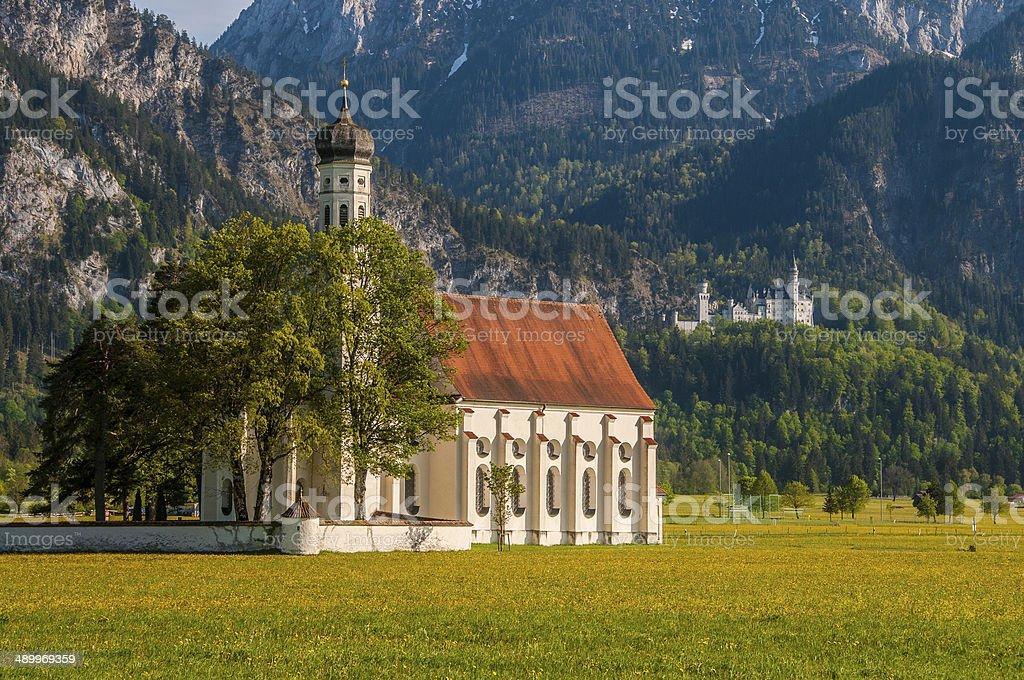 St. Coloman Church and Neuschwanstein Castle, Bavaria, Germany stock photo