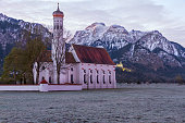 St. Coloman church in the morning, Alps, Bavaria, Germany