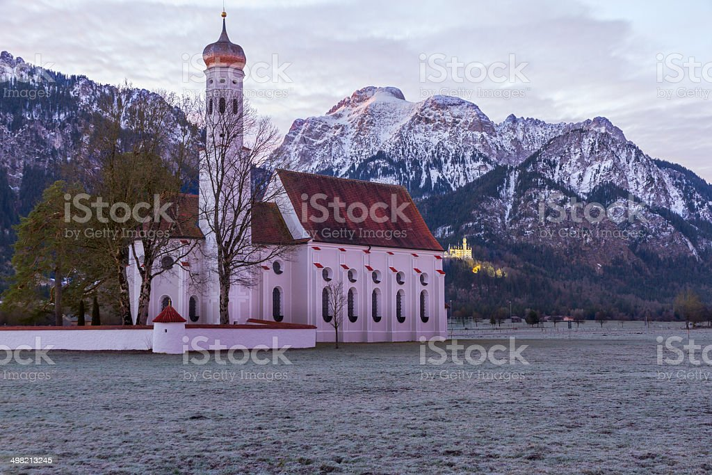 St. Coloman church in the morning, Alps, Bavaria, Germany stock photo