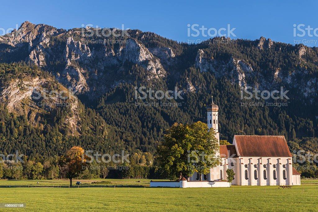 St Coloman Church, Schwangau, Fussen, Bavaria, Germany in Autumn stock photo