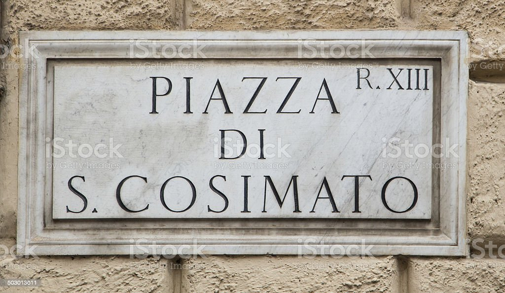 Piazza S. Cosimato stock photo
