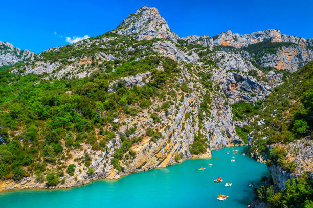 St Croix Lake and boating in the Verdon gorge, France stock photo