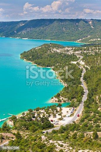 st croix lake les gorges du verdon provence france. top view