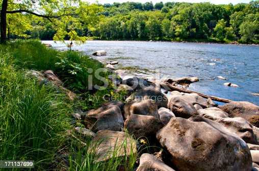 The scenic St. Croix River bordering Minnesota and Wisconsin near St. Croix Falls, WI.