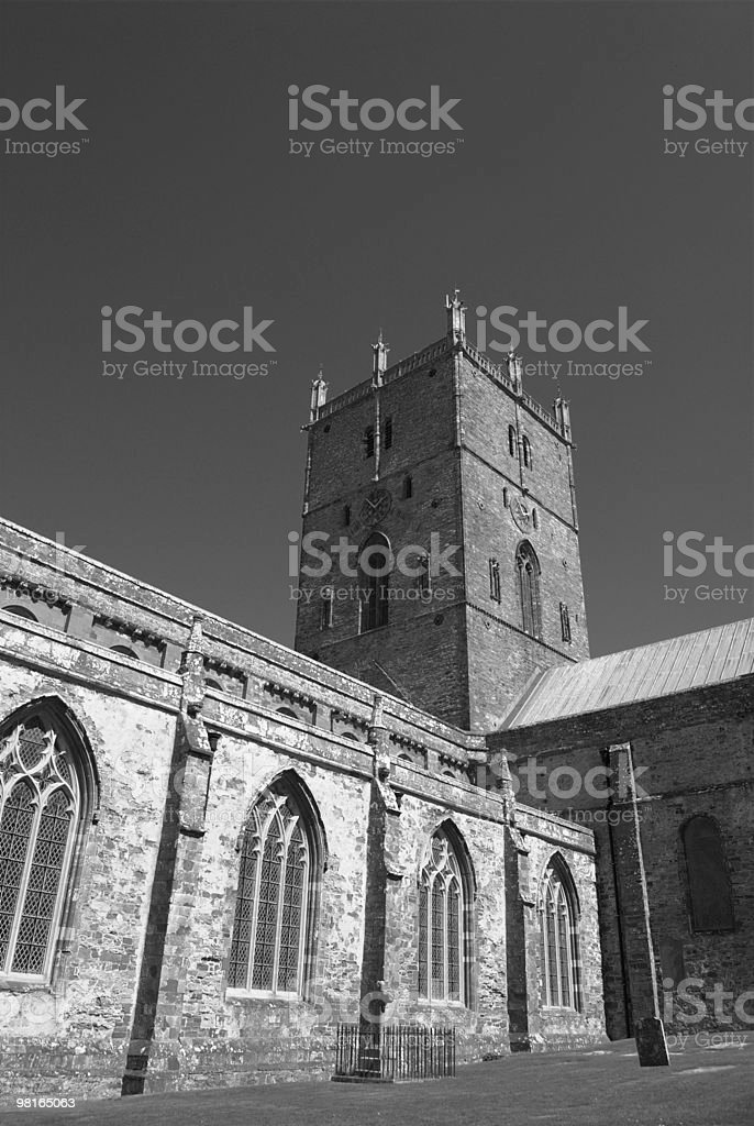 St David's Cathedral B&W royalty-free stock photo