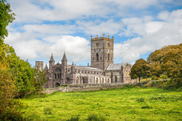 St Davids cathedral in South Wales stock photo