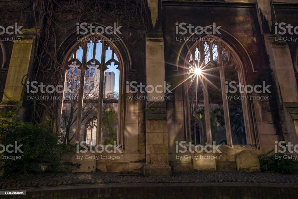 St. Dunstan-in-the-East Church in London stock photo
