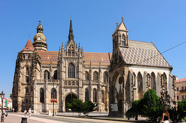 St. Elisabeth cathedral and St. Michael chapel stock photo