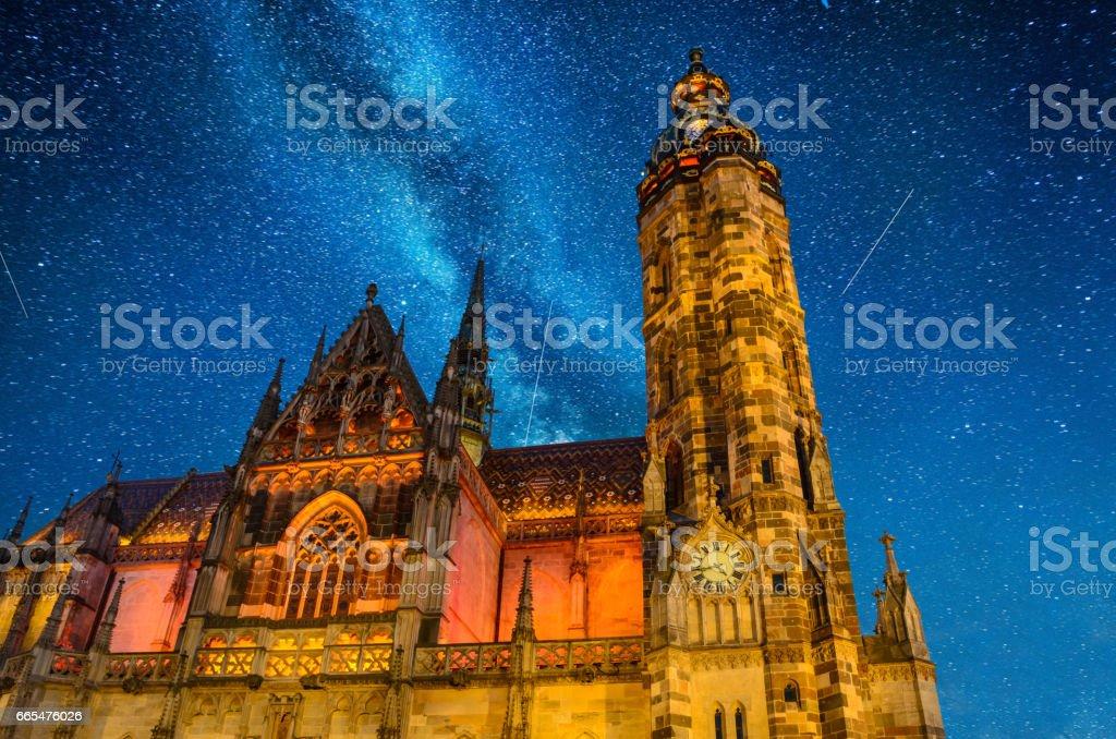 St. Elisabeth Cathedral at night Kosice, Slovakia, Europe stock photo