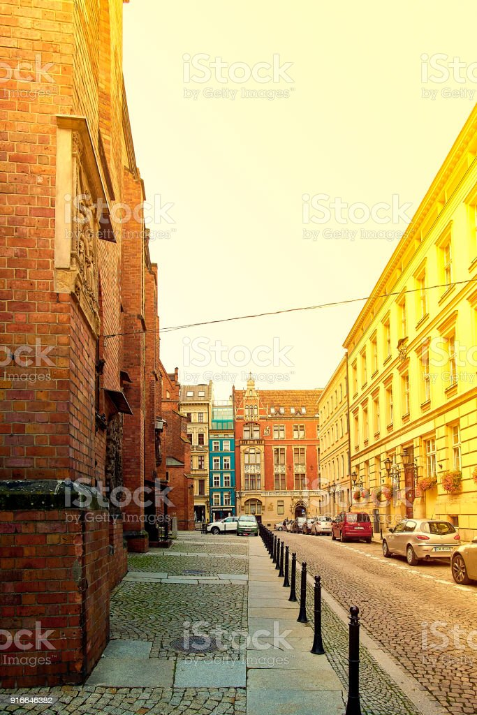 St. Elisabeth's street with St. Elisabeth's Church on the left in Wroclaw, Poland. stock photo