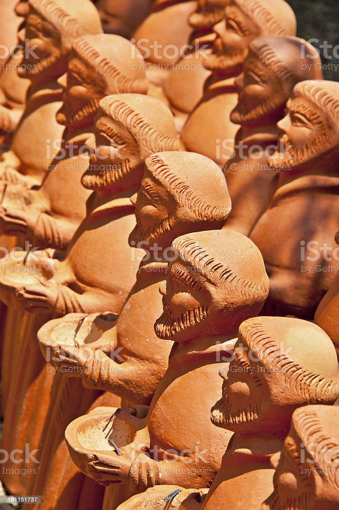 St. Francis Terracotta Figures Bird Bath and Feeder royalty-free stock photo