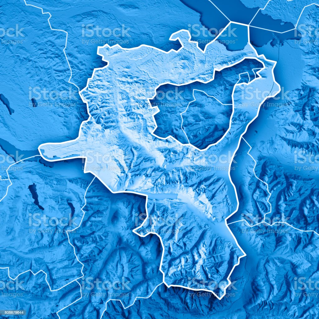 St Gallen Canton Switzerland 3d Render Topographic Map Blue Border