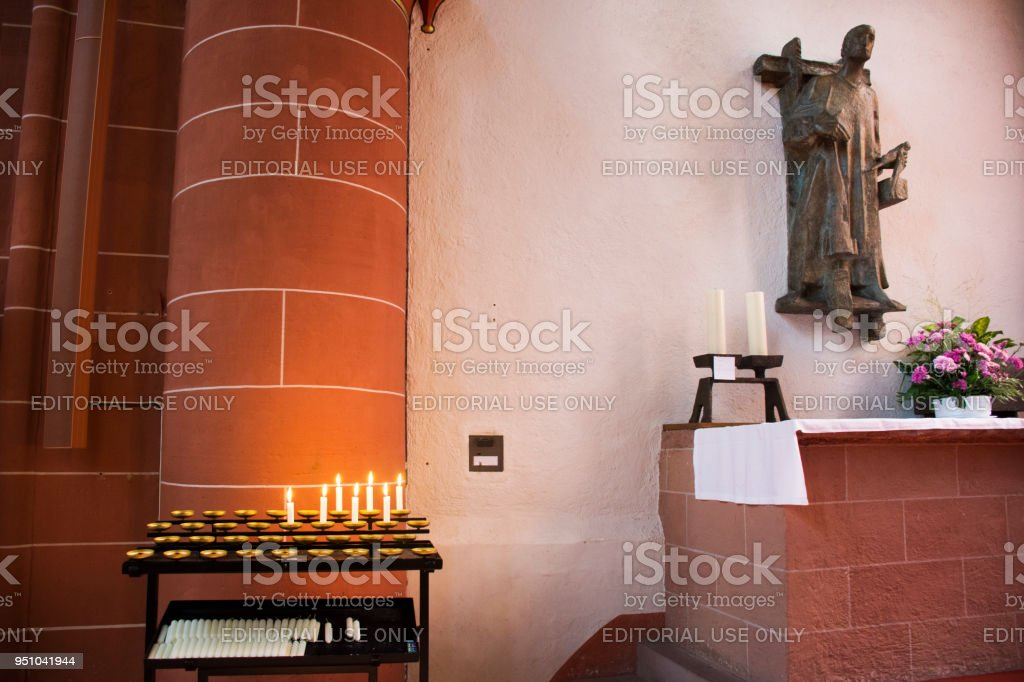 St. Gallus church at Ladenburg in Baden-wurttemberg, Germany stock photo