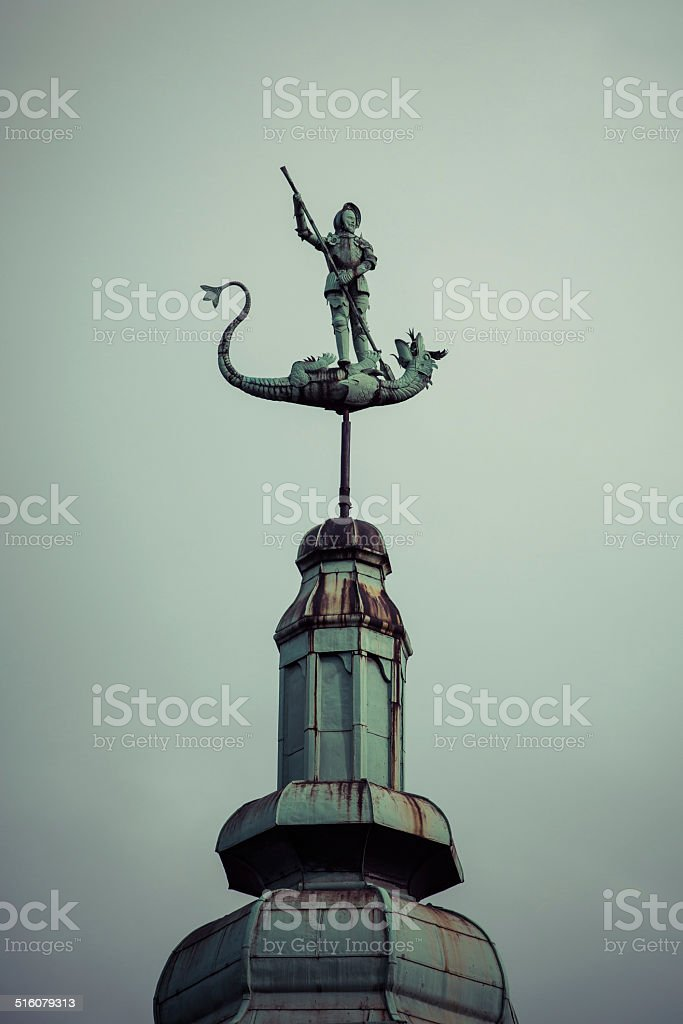St. George and the Dragon Statue. stock photo