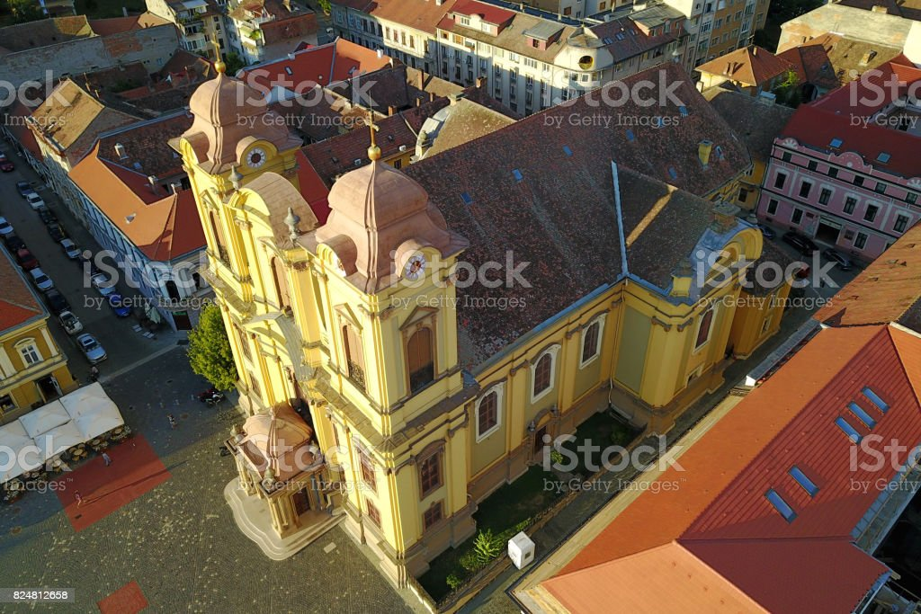 St George Cathedral aerial, Timisoara, Romania stock photo