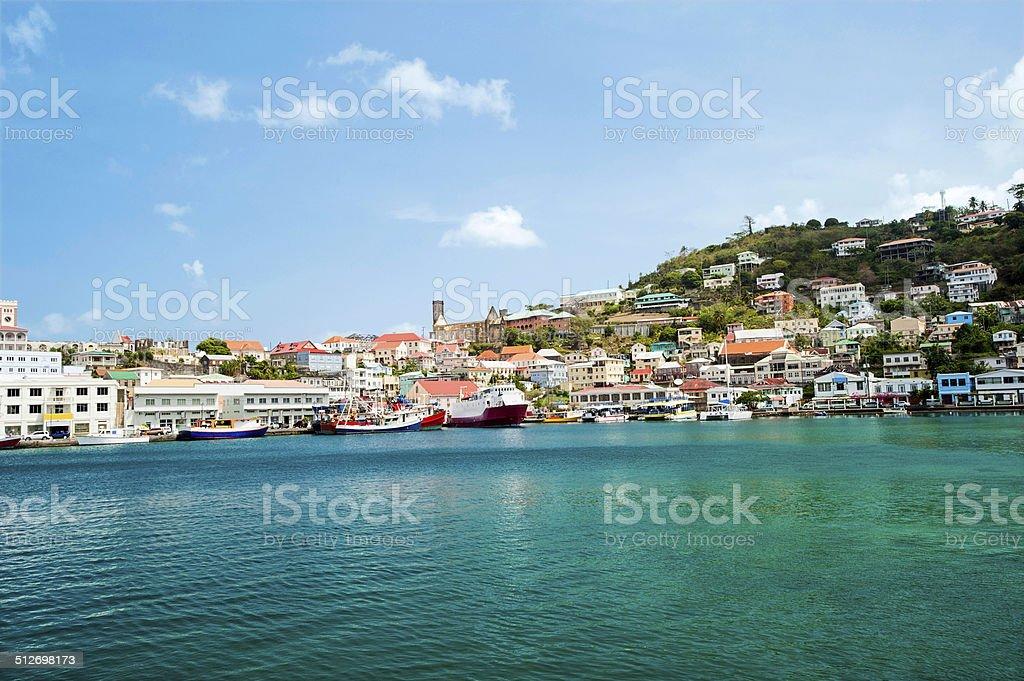 St. George harbor in Granada stock photo