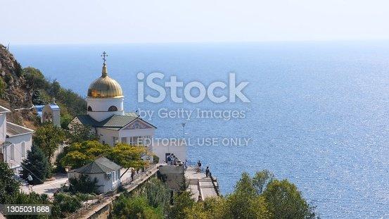 istock St. George Monastery is located on Cape Fiolent: Sevastopol, Crimea - September 17, 2020 1305031668