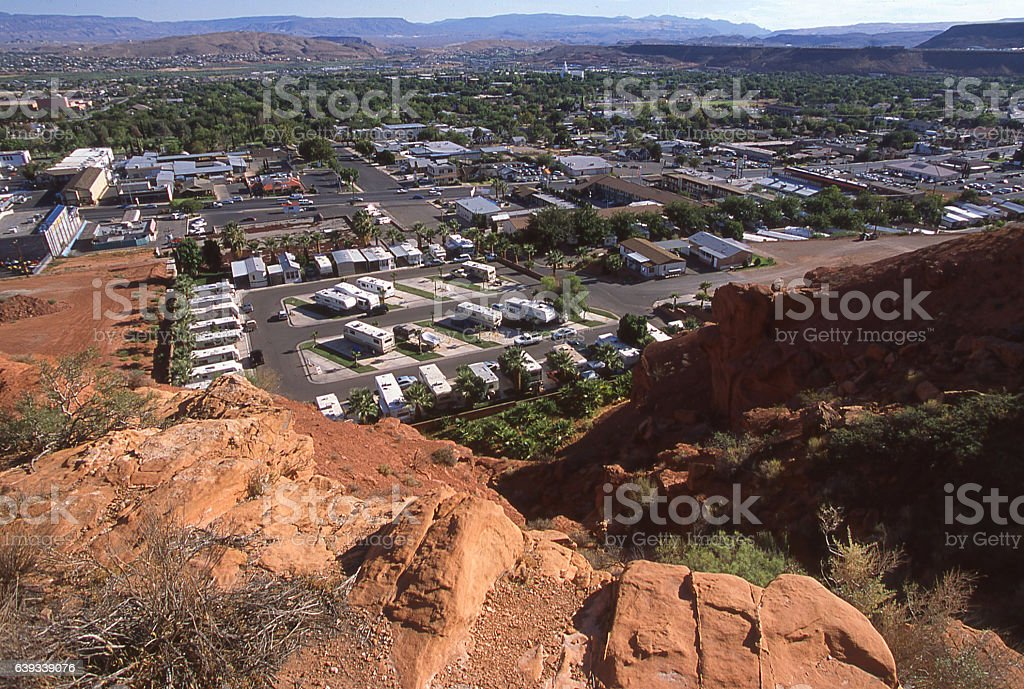 St George Utah early 200s looking toward the Mormon Temple stock photo