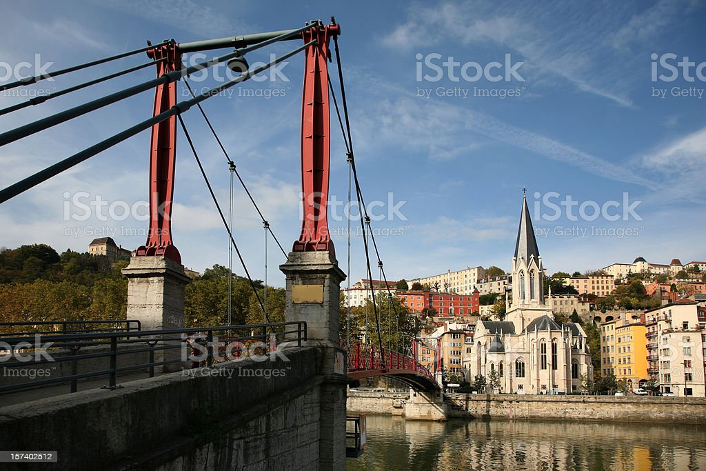 St Georges and Saone River, Lyon stock photo