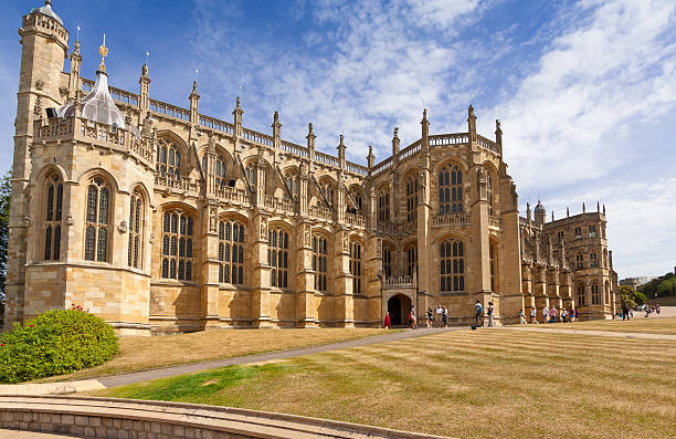 St George's Chapel, Windsor Castle, with Blue Sky, Berkshire, England. stock photo