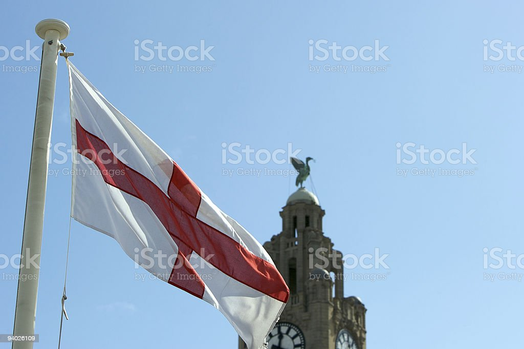 St George's Cross and the Royal Liver Building, Liverpool royalty-free stock photo