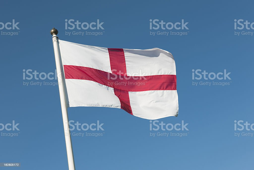St Georges Cross Flag on a windy day stock photo
