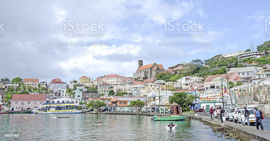 St. George's Grenada Waterfront and Church royalty-free stock photo