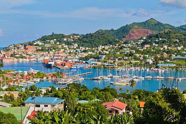 St. George's Harbor, Grenada W.I. stock photo