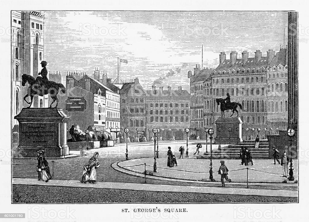 St. George's Square Liverpool, England Victorian Engraving, 1840 stock photo