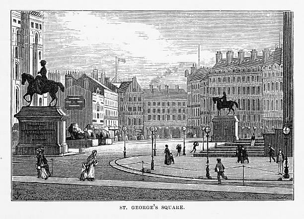 st. george's square liverpool, england victorian engraving, 1840 - acquaforte foto e immagini stock
