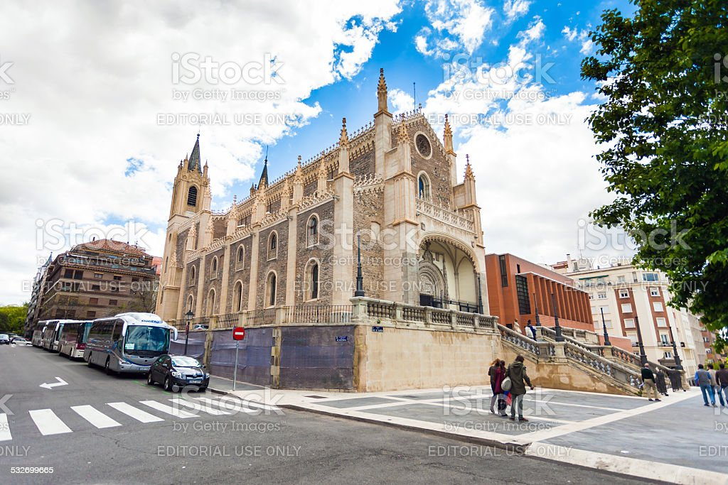 St. Geromimo Royal church on a spring day, Madrid stock photo
