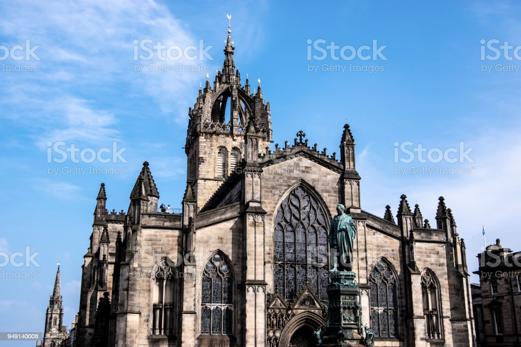 St. Giles' Cathedral in Edinburgh on a sunny day stock photo
