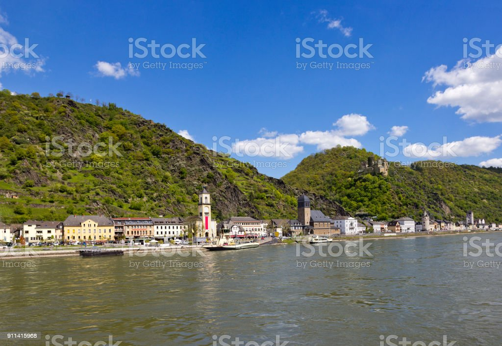 St. Goarshausen in Rhineland-Palatinate, Germany with Katz Castle in the mountains above it stock photo