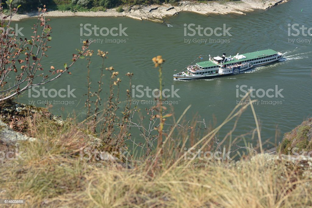 St. Goarshausen near Loreley with passenger boat Goethe stock photo
