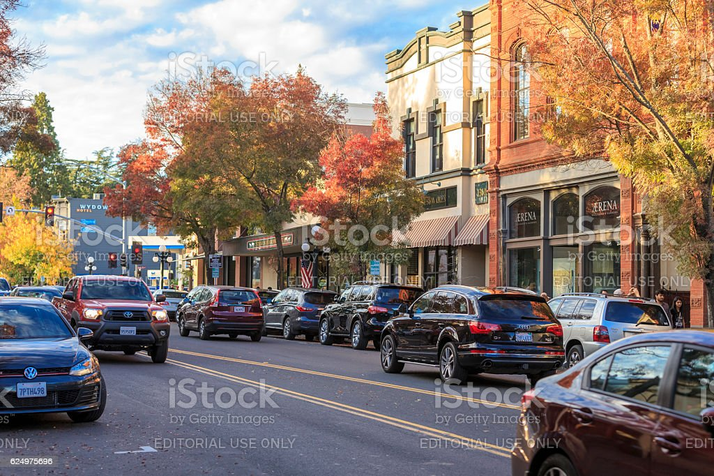 St. Helena Downtown in Napa Valley at Autumn, California royalty-free stock photo