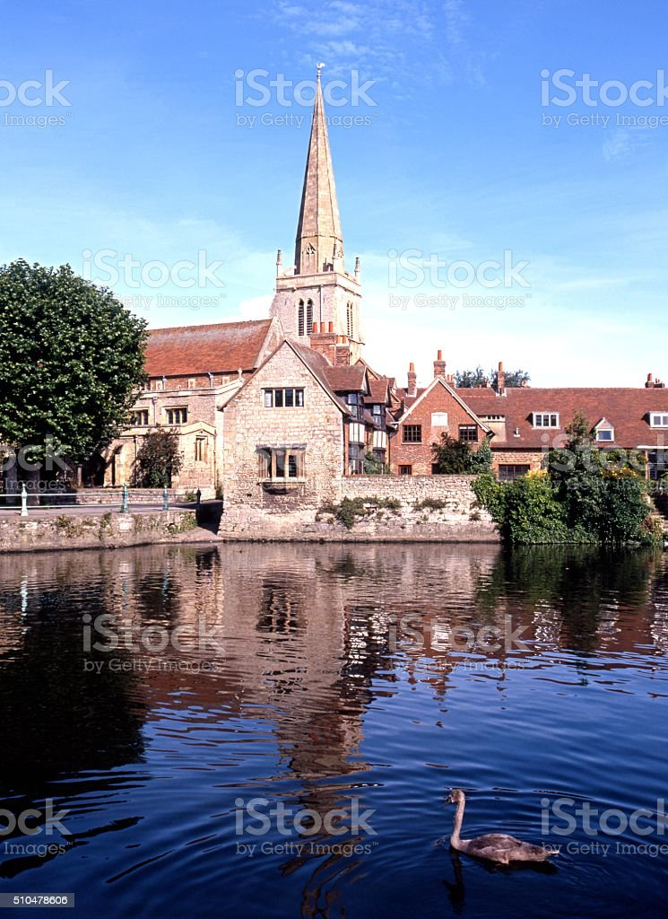 St Helens Church and River Thames, Abingdon. stock photo