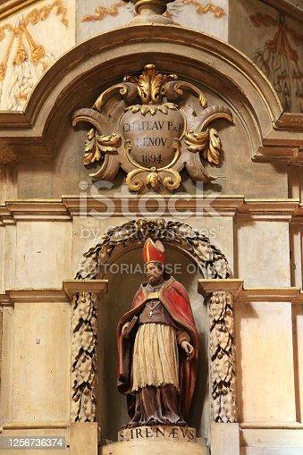 Europe. France. Auvergne-Rhône-Alpes. Rhône. Lyon. 08/02/2012. This colorful image depicts Saint-Irénée. Saint John's astronomical clock. Cathedral of St. John the Baptist and St. Stephen.