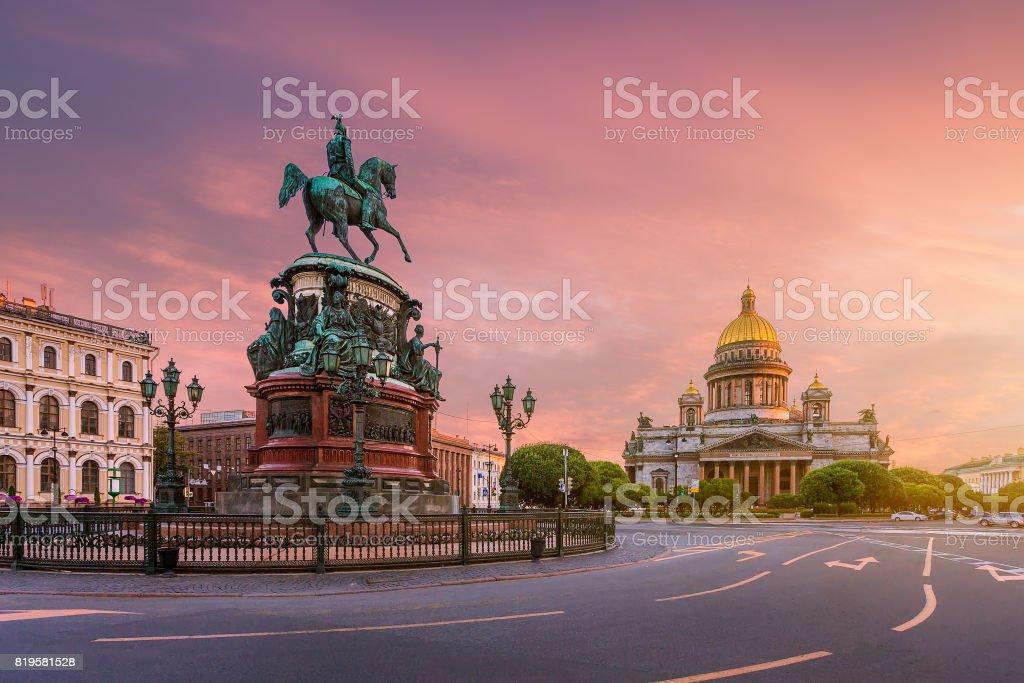 St. Isaac's Square at dawn stock photo