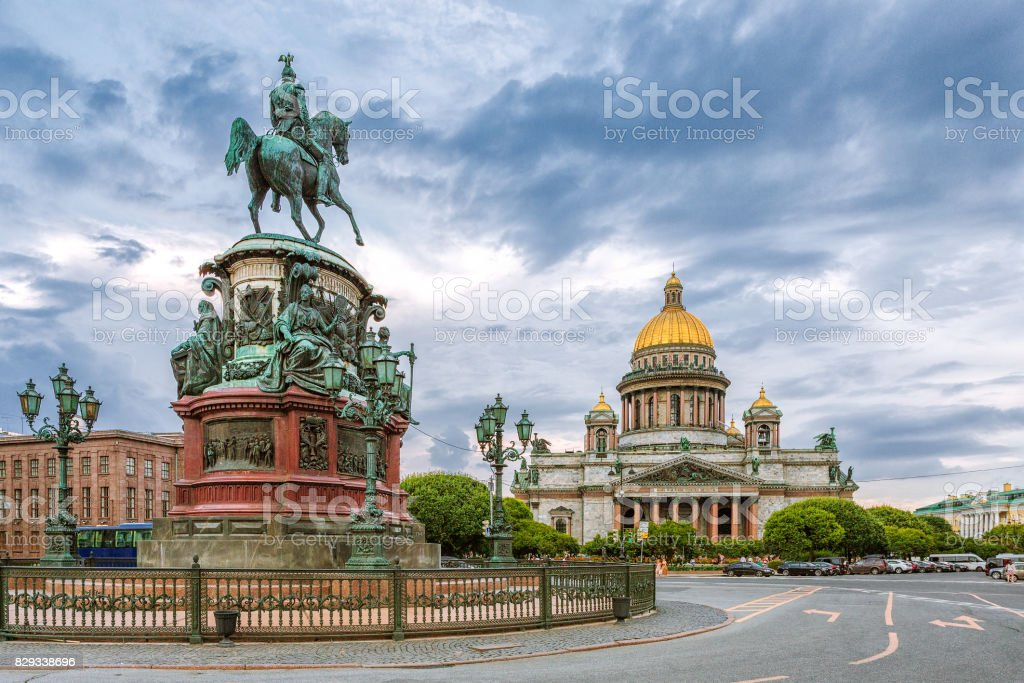 St. Isaac's Square in St. Petersburg on a cloudy evening stock photo