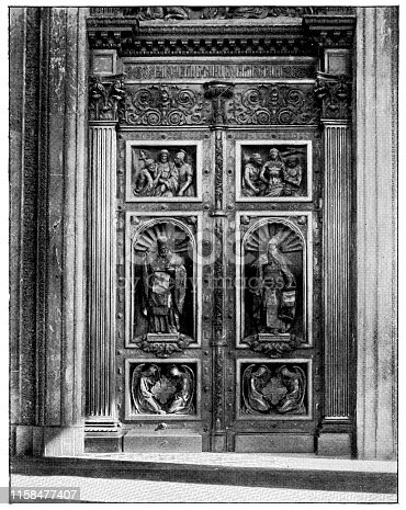 St. Issac's Gate at Saint Isaac's Cathedral (Isaakievskiy Sobor) in Saint Petersburg, Russia. The Russian Empire era (circa 19th century). Vintage halftone photo etching circa late 19th century.
