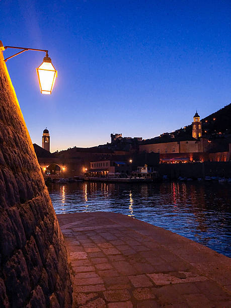 St. Ivan Fortress at night, Dubrovnik Old Port, Croatia ストックフォト