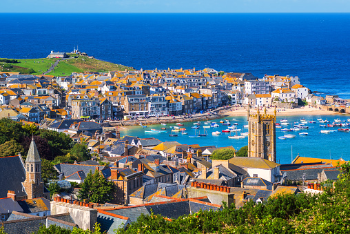 St Ives, a popular seaside town and port in Cornwall, England