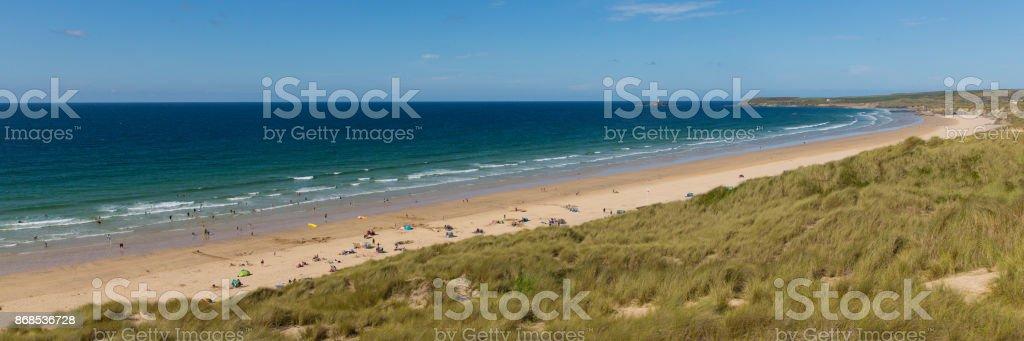St Ives Bay beach Cornwall uk in summer panoramic view stock photo
