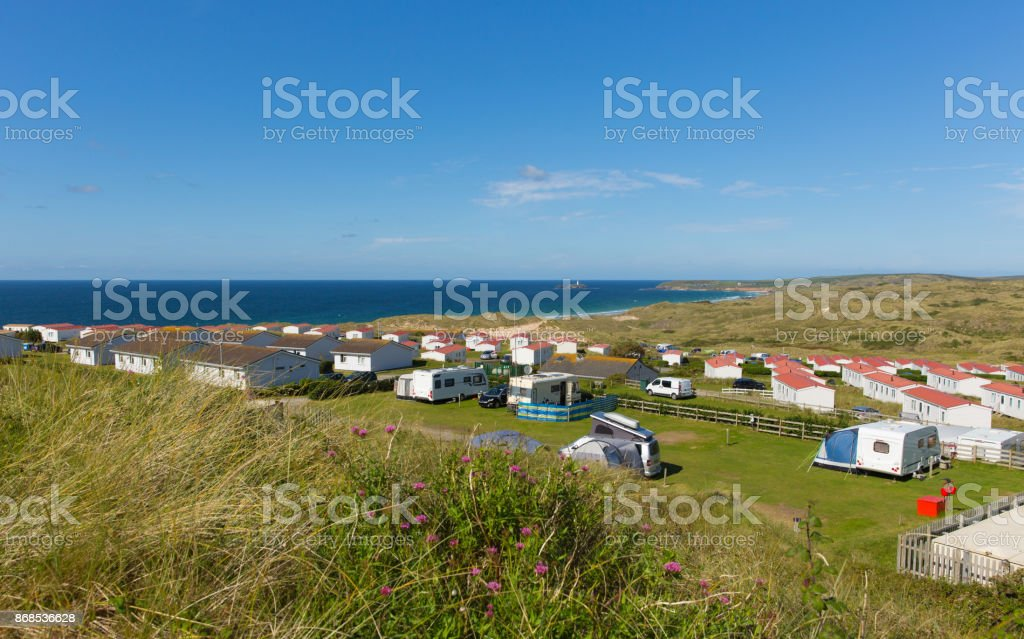 St Ives Bay Cornwall with static caravans and camping in summer stock photo