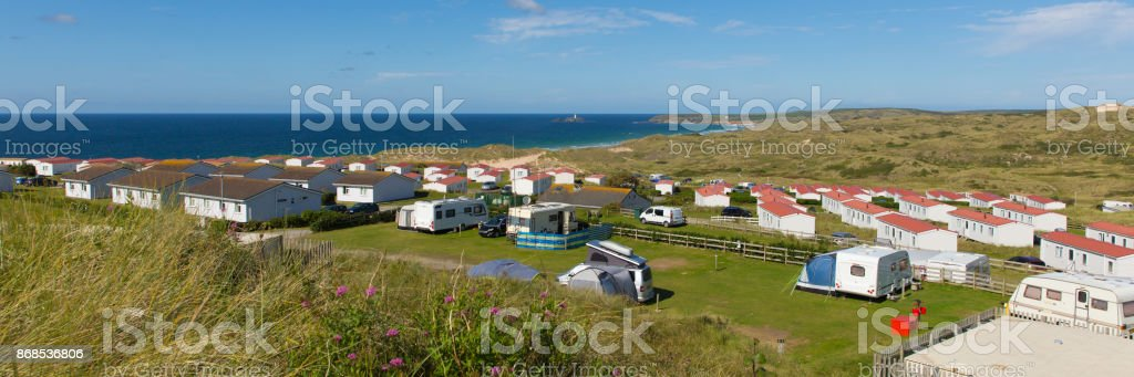 St Ives Bay Cornwall with static caravans and camping panoramic view stock photo